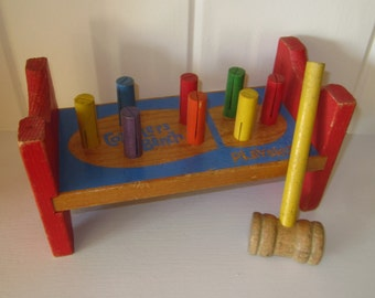 Vintage  Playskool Cobblers Bench Wooden Toy with Hammer