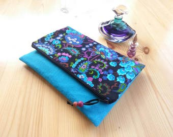 Vintage Fabric Fold Over Clutch, 1960s fabric, paisley clutch, turquoise clutch, bridesmaids gift
