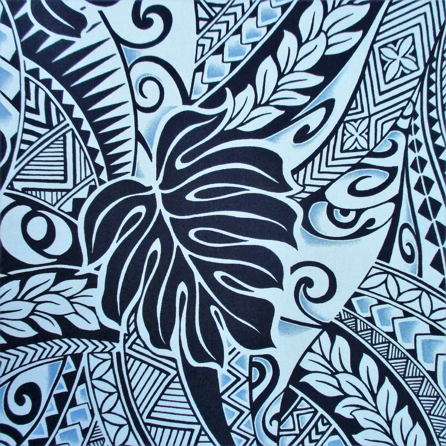 fabric polynesian tattoo tapa designs in blue monstera leaves hawaiian tropical by the yard. Black Bedroom Furniture Sets. Home Design Ideas