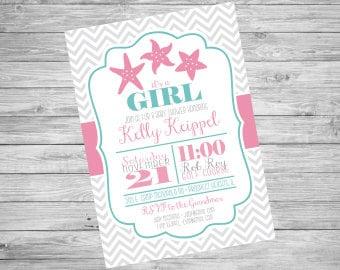 Starfish Baby Shower Invitation | Teal Pink Gray Chevron | Custom Printable File