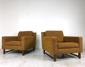 Pair Vintage Mid Century Modern Wormley Dunbar Style Walnut Cube Lounge Chairs
