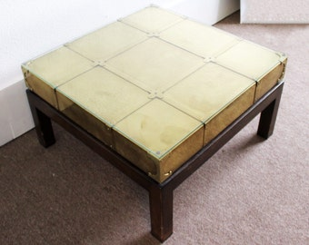 Mid Century Modern Sarreid Brass Coffee Table Walnut Wood Base Glass Top Spain