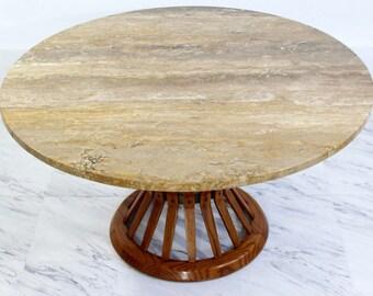 Mid Century Modern Dunbar Wheat Sheaf Marble And Wood Round Coffee Table