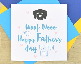 Personalised Father's day card from the dog, from the dog Fathers day card for Dad - square