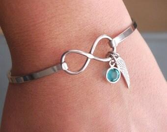 Angel Wing Bracelet, Birthstone Bracelet, Infinity Bracelet, Infinity Wing Bracelet, Miscarriage Bracelet, Memorial Gifts, Miscarriage Gifts