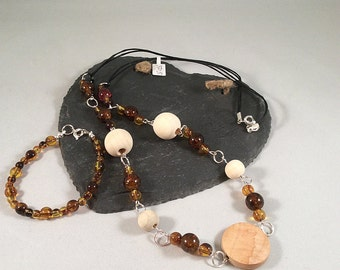 Long Leather Chord Necklace with Wood and Brown Amber Beads and Bracelet Set