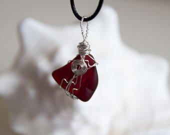 Crimson Sea Glass Wire Wrapped Pendant