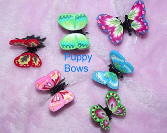Puppy Bows ~Barrette tiny jaw clip BUTTERFLIES bow dog Shih Tzu FOUR COLORS ~Usa seller