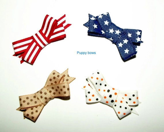 Puppy Bows ~4 boys double loop ribbon snap clips dog bow barrette ~Usa seller