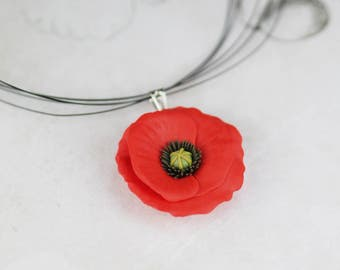 Red poppy flower pendant - handmade polymer clay floral jewelry