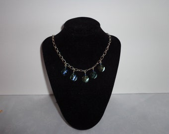 Blue Crystal Tile Necklace
