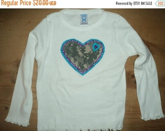 Turquoise, Purple, and Army ACU Camo Heart Applique Shirt or Baby Bodysuit