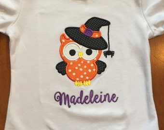 Halloween witch owl shirt or baby bodysuit