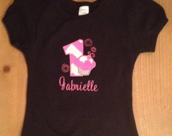 Hot Pink, Black, and White Birthday Cupcake Embroidered Shirt or Baby Bodysuit