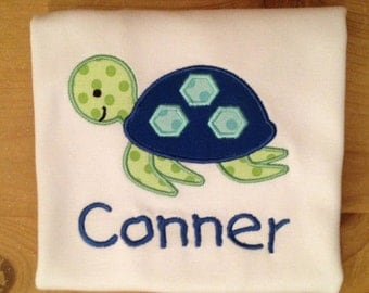 Blue and Green Sea Turtle Embroidered Shirt or Baby Bodysuit