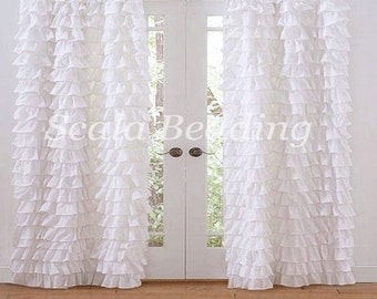 800 TC Multi Ruffle Curtains 2-Panel Top Rod Pocket Choose Color & Size