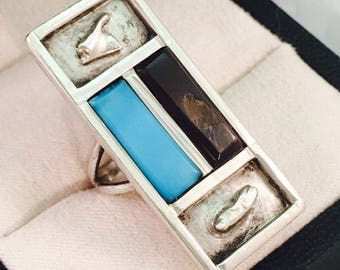 Vintage Southwestern Style Sterling Silver Rectangular Statement Ring - Size 6.5 - 8.4 Grams
