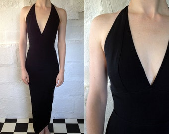1980s 'Laura Jane' Black Halter Neck Bandage Dress / 80s Body Con Dress / Vintage Party Dress / SIZE UK 8