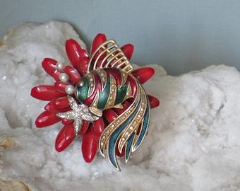 FISH BROOCH/ Repurposed Brooch/ Rhinestones/ Gold/Pearl/ Vintage/Red and Green/ Vintage Repurposed/ Flower/ Hat Pin/ Bling Jewelry