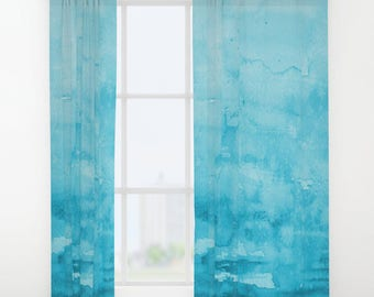 Blue Watercolor Window Curtains - aqua, coastal artistic, flowing bedroom curtain, bathroom window, home decor