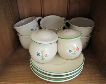 Hand Painted and Signed Pfaltzgraff White with Flowers Dishes Set 34 piece
