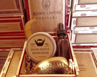 Beard Grooming Set Beard Basics Travel Size Comb and Boar Brush Oil and Balm in Upcycled Wood Cigar Box  Choice of Scents