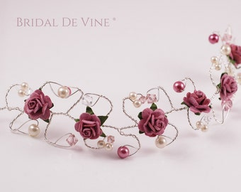 Dusky Vintage Pink Hair Vine  Bridesmaids Hair Accessory Hair Up Bun Wrap