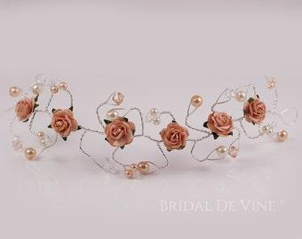 Peach Flower Hair Vine  Bridesmaids Hair Accessory Hair Up Bun Wrap