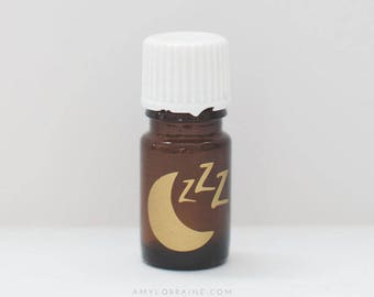 Essential Oil Bottle Gold Moon and Zzz Vinyl Decal - Sleep Blend Label