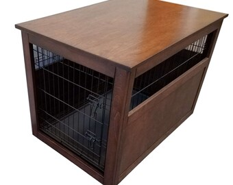 Small Wire Crate With Partially Enclosed Side Wooden Cover For Dog. Puppy,  Or Cat