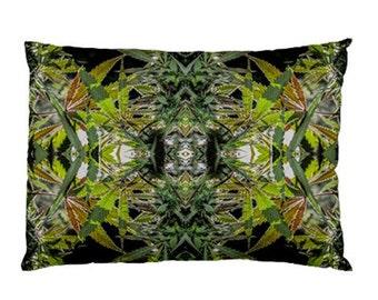 Standard Pillow Case: Ganja Pillow Case in Blueberry Marijuana Print, Bed Pillow Case, Cannabis Pillow Case- Stock