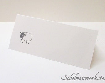 Place card with stamped sheep (6 PCs)