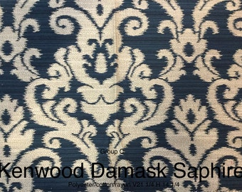 FREE SHIP - Kenwood Damask Sapphire - by the yard