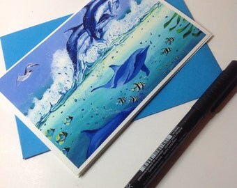 Dolphins Leaping in Surf Card, Marine Life Card,Dance of the Dolphins, Sealife card, Dolphin card, Conservation Card.