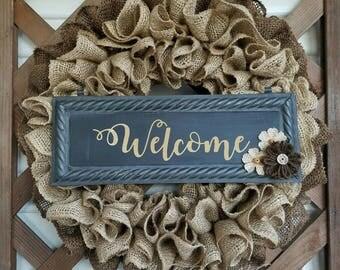 Spring wreath, welcome wreath, Burlap wreath, door hanger, floral wreath, welcome sign, home decor wreath, door decor, welcome wreath
