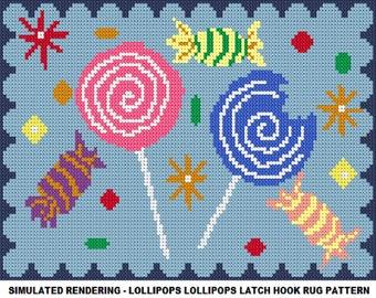 Lollipops Lollipops Latch Hook Rug Pattern - PDF Instant Download
