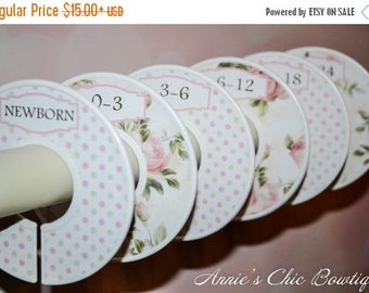 Baby Closet Dividers, Floral Closet Dividers, Closet Organizers, Baby shower gift, Pink Closet divider, Girl Nursery, Newborn gift, C138