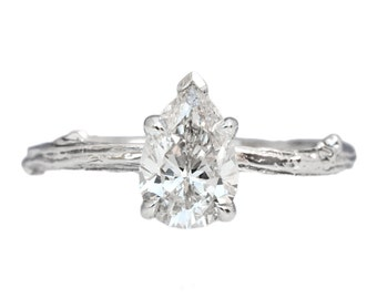 Twig Ring Solitaire with Pear Shaped Moissanite