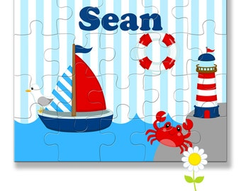 Personalized Nautical Puzzle for Kids - Sailboat Puzzle with Name - Ocean Custom Name Jigsaw - Boy Birthday Gift - Stocking Stuffer