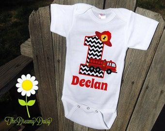 Personalized Fire Truck Birthday Bodysuit - Fire Engine Infant Creeper - Personalized Bodysuit or T-Shirt - Custom Baby Boy Birthday Outfit