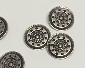 """7/8"""" Silver Flower button, Vintage button, Round Silver button, Silver Shank, Star Flower Button, Edelweiss, Shank Button, Pinwheel"""