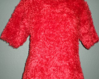 Red Retro Sweater Shaggy Furry Top By Carducci Short Sleeve 1980's style