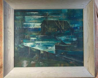 Vintage Expressionist Expressionism Mid Century Modern Boat Nautical Painting