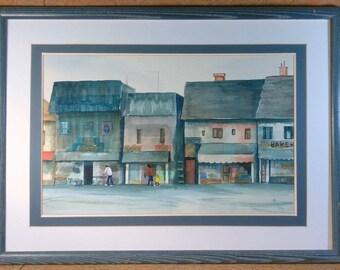 Old Vintage Black Americana Watercolor Landscape Buildings Painting M. Robertson