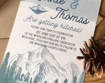 Rustic watercolour style Mountain Woodland wedding Invitation personalised