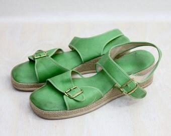 Vintage 70s Green Sandals Shoes Sz 7 UK 4.5 5