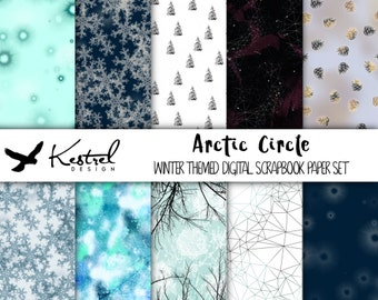 "12""x12"" - Arctic Circle Theme Digital Paper Pack - Kestrel Design DIY immediate download -printable crafts scrapbooking winter ice snow cold"