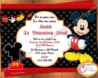Mickey Mouse Birthday Invitation - Mickey Mouse Invitation - 1st First Birthday Mickey Mouse Invite, Oh Toodles Birthday - Printable