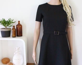 little black dress genuine vintage LBD xs sml a line short sleeve retro handmade