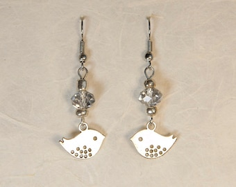 Bird Charm Beaded Earrings